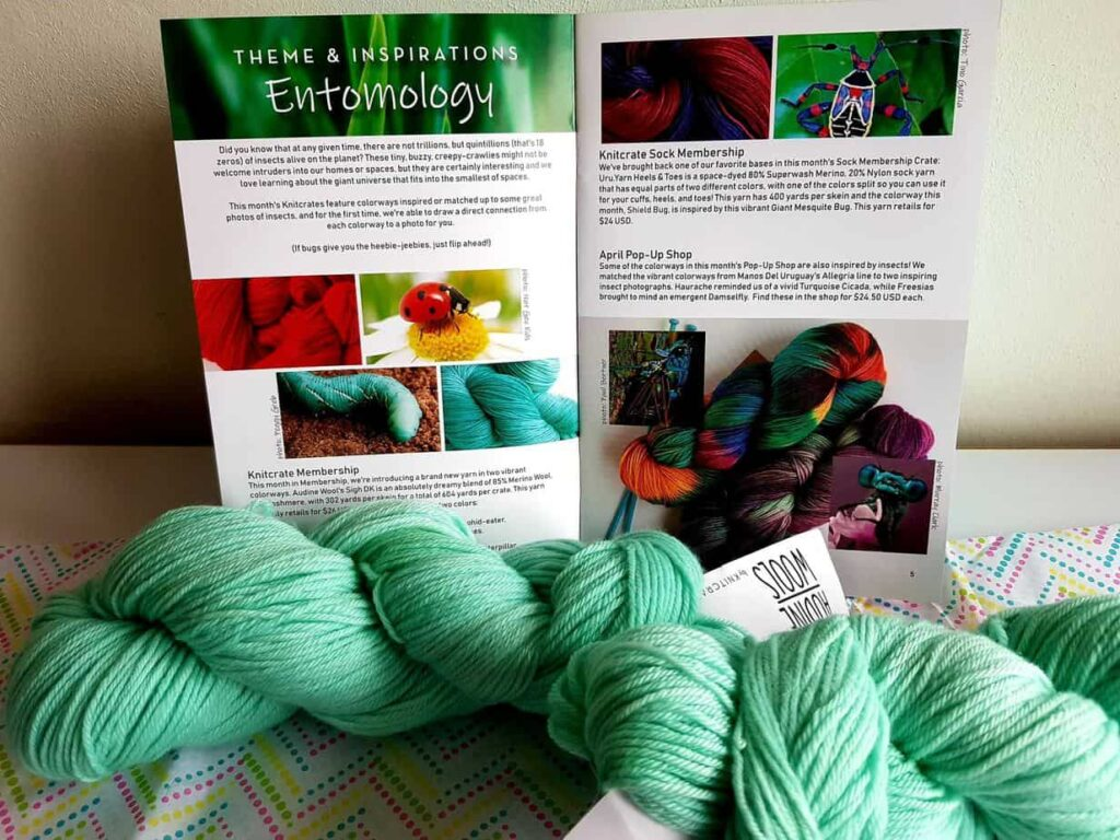 Yarn and booklet in the Knitcrate subscription box