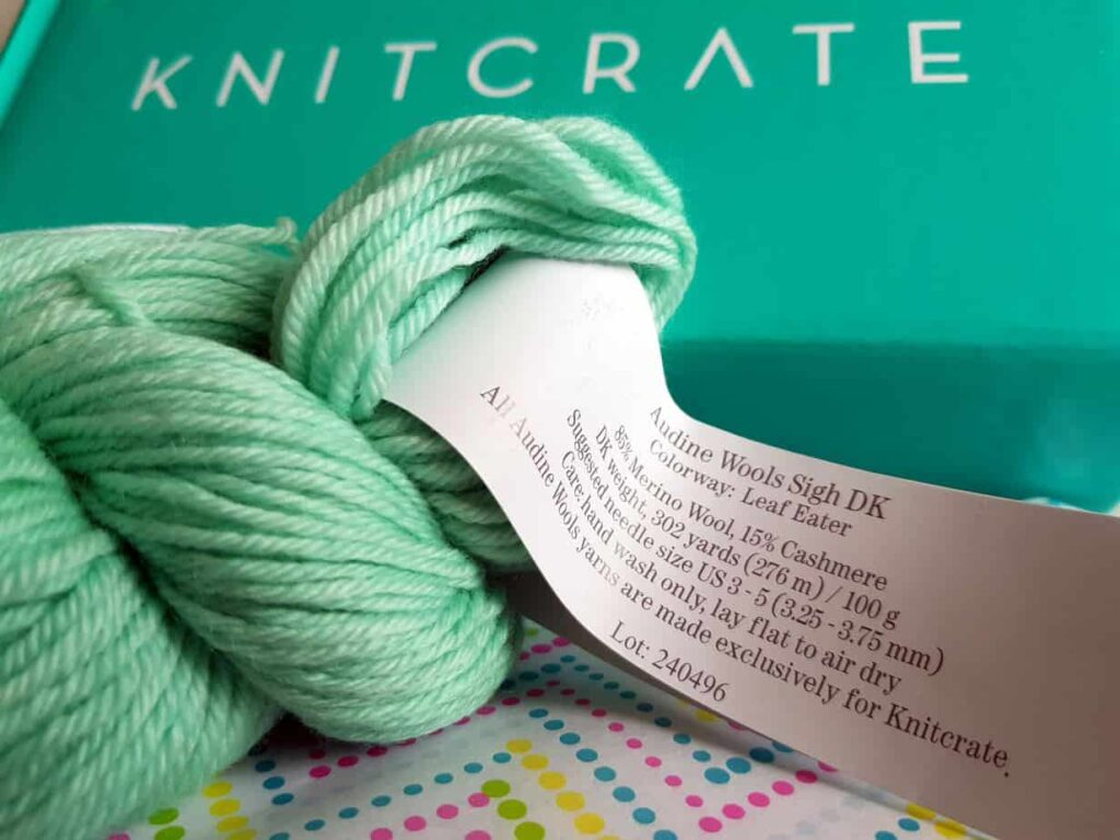 Yarn showing label from a Knitcrate subscription box