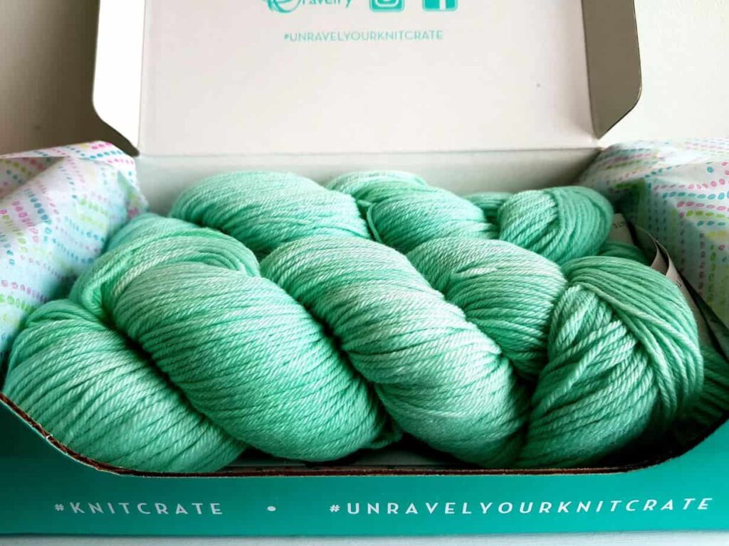 Yarn received in one of Knitcrate subscription boxes