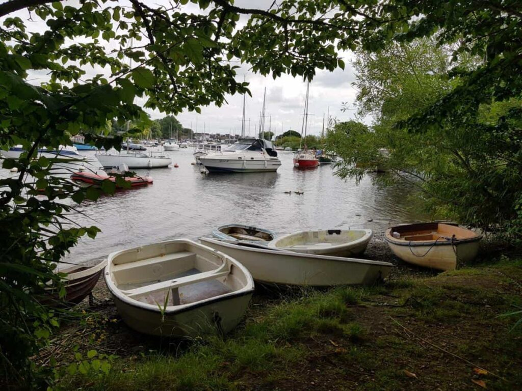 Boats out of the river Stour at Tuckton