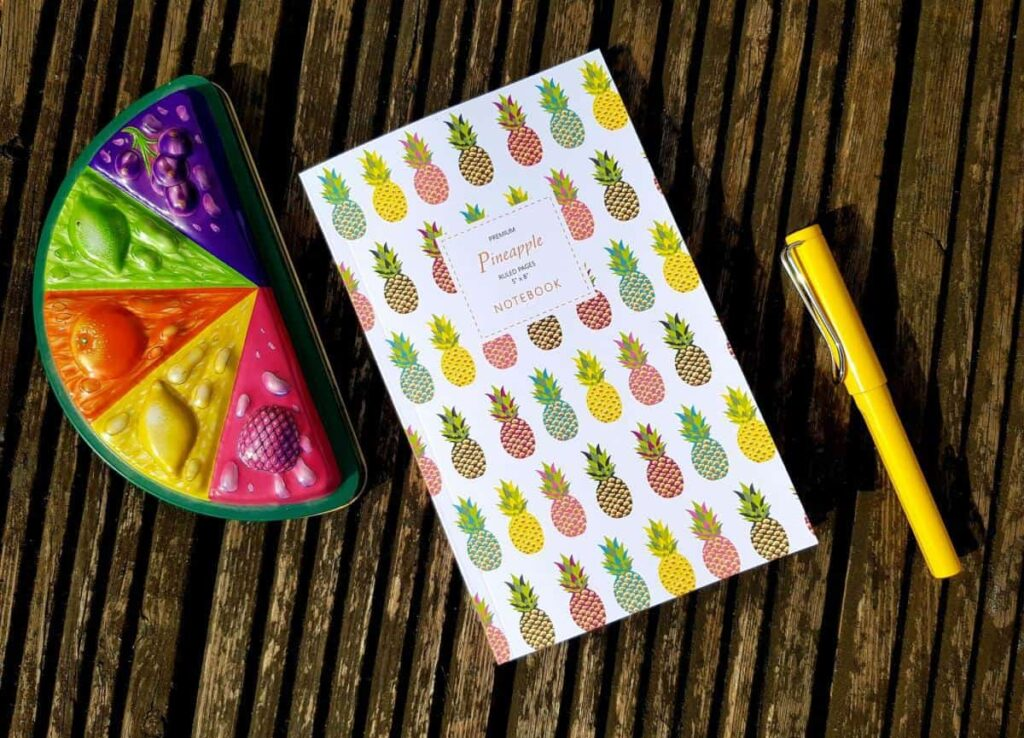 Pineapple notebook and pen