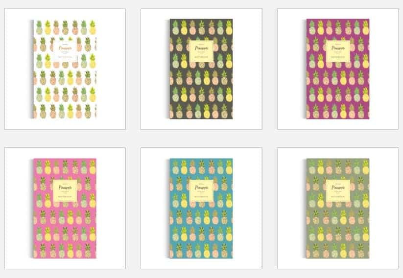 Variations of colour for the Pineapple notebooks from Quick Witted Coconut : stationery collection