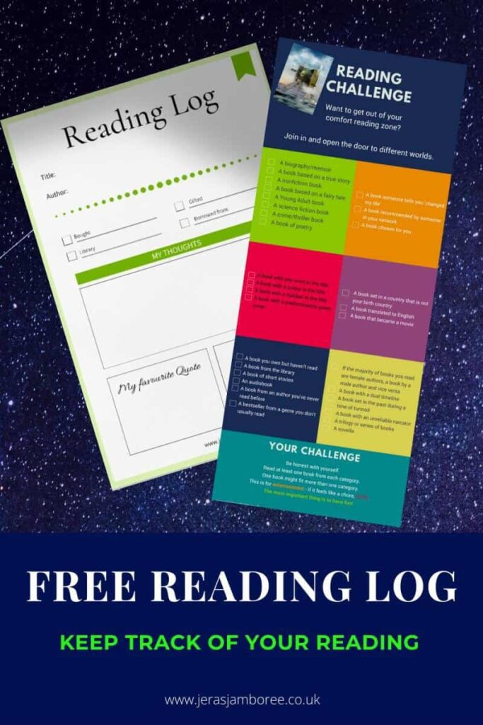 Free reading log to keep track of the books you read for the challenge.