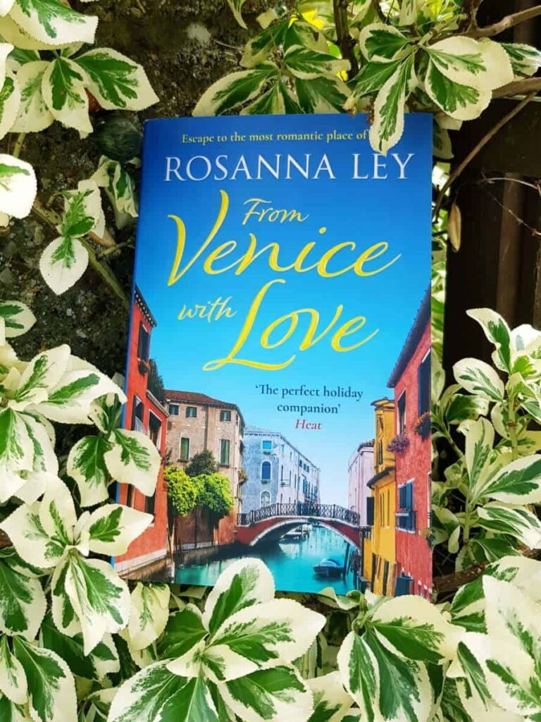 Book cover for From Venice with Love by Rosanna Ley nestled in ivy.