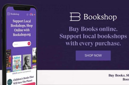 mobile phone showing online ordering bookshop org