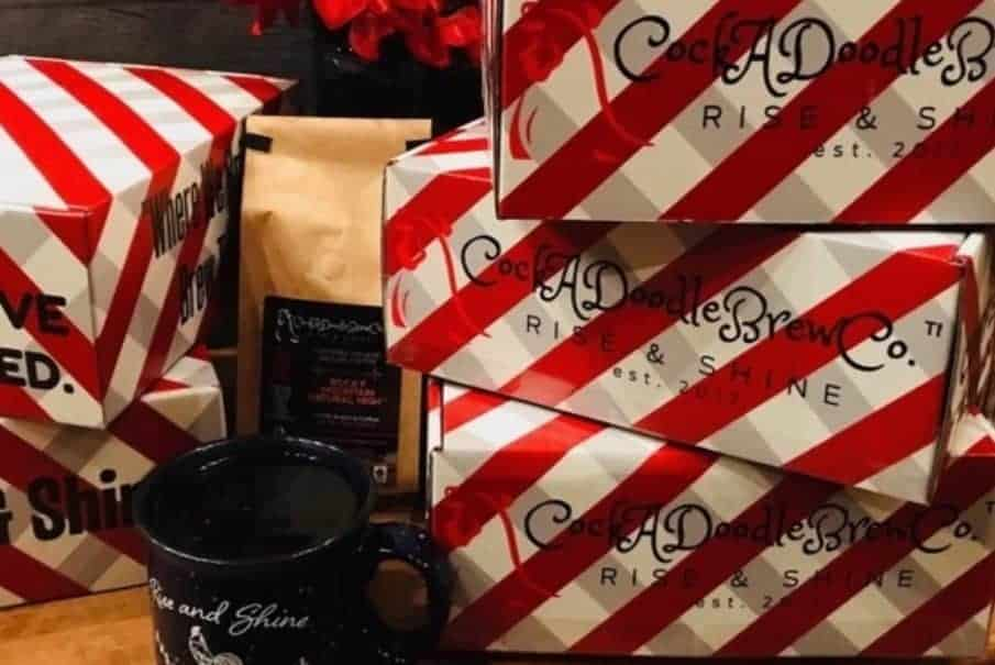 Red and White striped coffee subscription boxes from CockaDoodle Brew Co