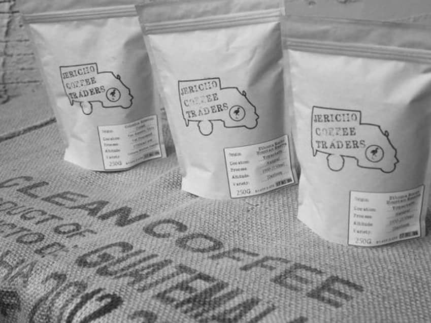 three bags of coffee as part of the Jericho coffee Traders subscription