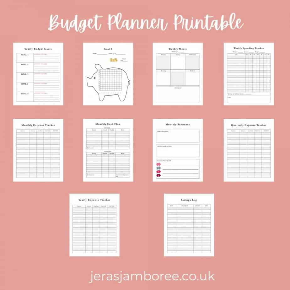All the pages in the budget planner printable