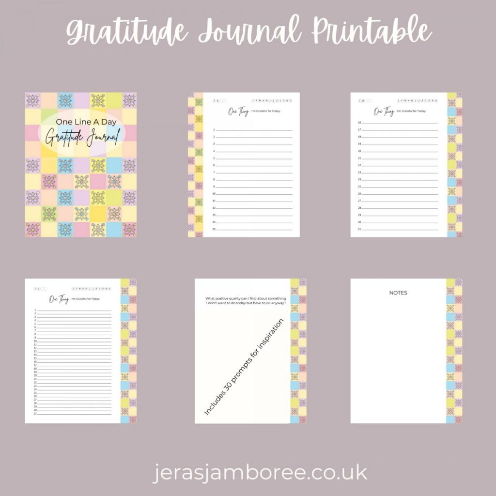Planner sheets available in the One Line A Day Gratitude Journal