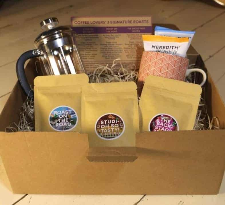 Coffee hamper - 3 x signature roasts, Craft mug, Cafetiere, biscuits, tasting notes.
