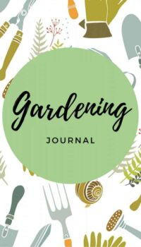 Front cover of the gardening journal showing gardening equipment